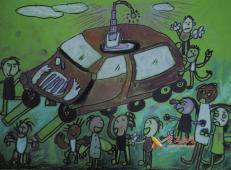 一年级获奖科幻画《自动救身汽车》欣赏