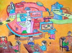 三年级二等奖科幻画《自动食物出餐机》