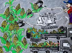 五年级小学生科幻画赏析《自动收割玉米机》