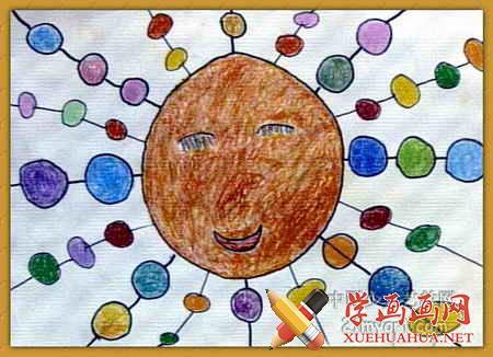 儿童画《扎麻花辫的太阳》(1)