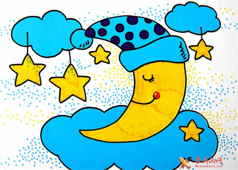 戴帽子的月亮水彩画作品
