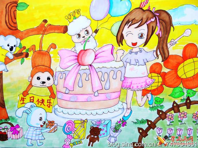 儿童水彩画作品《小羊过生日》(1)