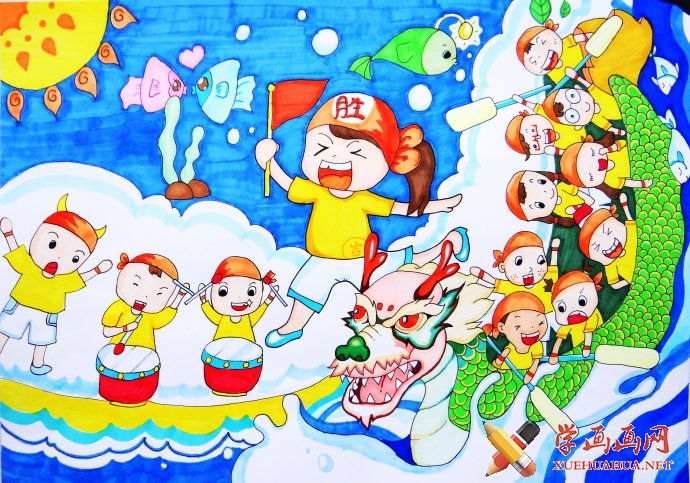 儿童画作品欣赏_《赛龙舟》水彩画(1)