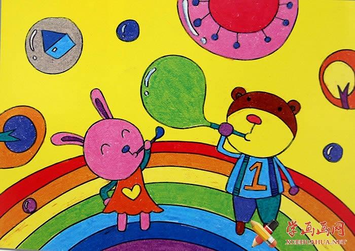 儿童节画画图片《吹泡泡》(1)