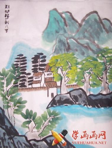 儿童山水画《山中留客》(1)
