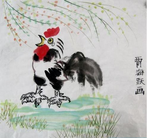 儿童中国画作品欣赏 水墨画公鸡