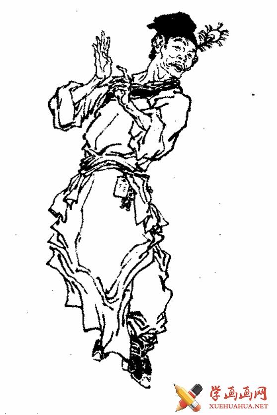 红楼梦白描人物《葫芦僧》(1)