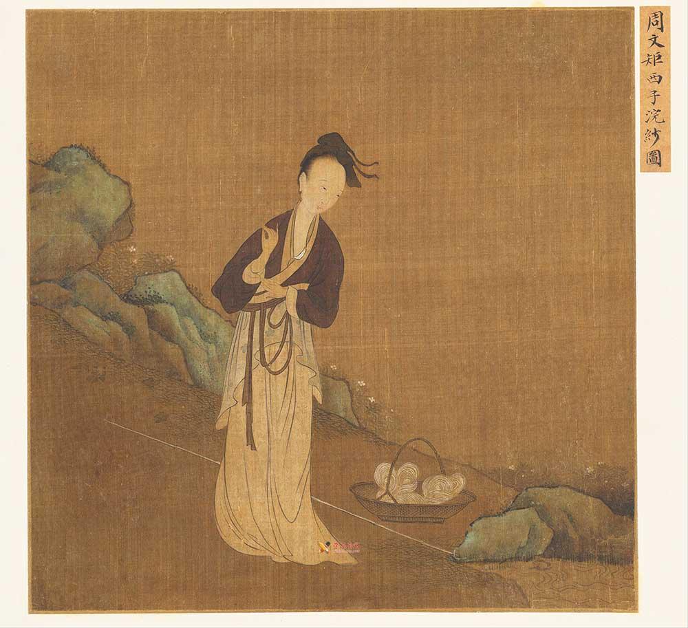 古画中的西施_周文矩《西子浣纱图》高清图片赏析(1)