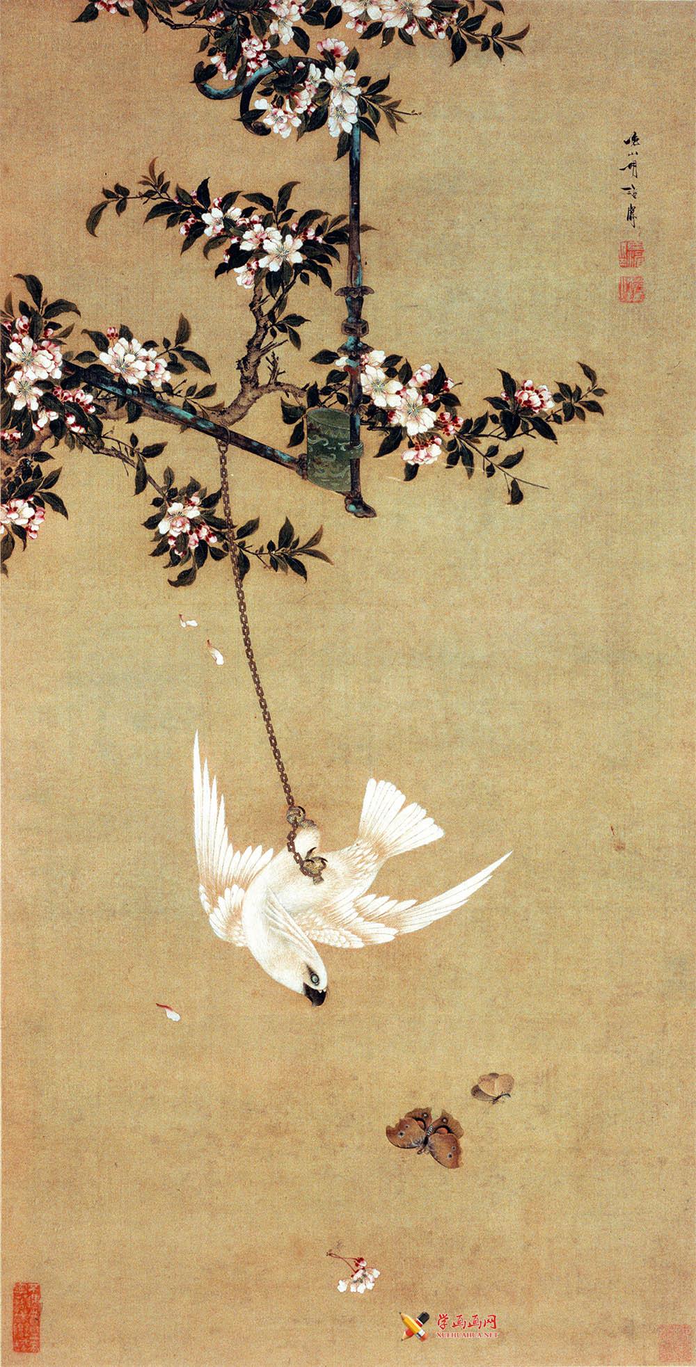 清胡湄《鹦鹉戏蝶图》赏析(1)