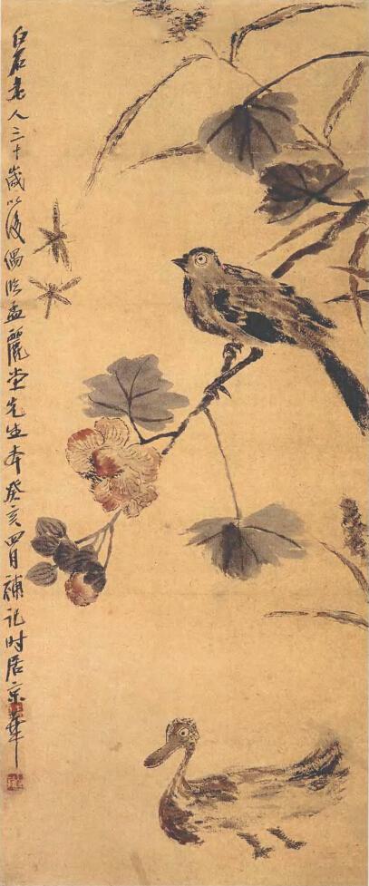 齐白石《芙蓉鸭子图》(1)