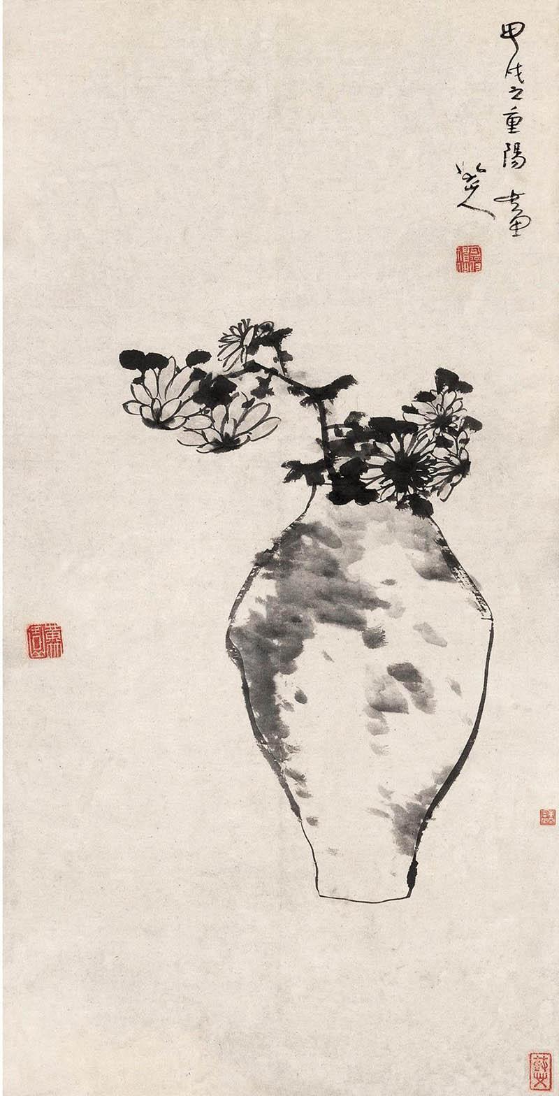 八大山人《瓶菊图》 高清图片(1)