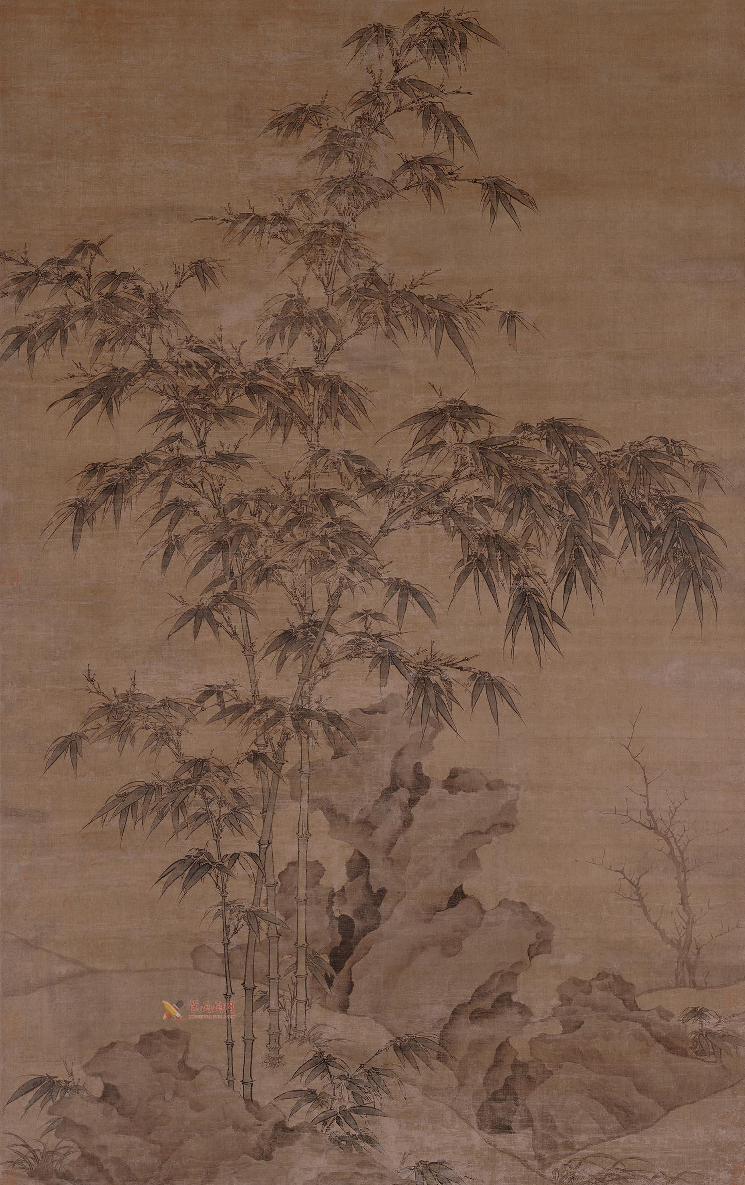 元李衎《双钩竹图 》绢布(1)