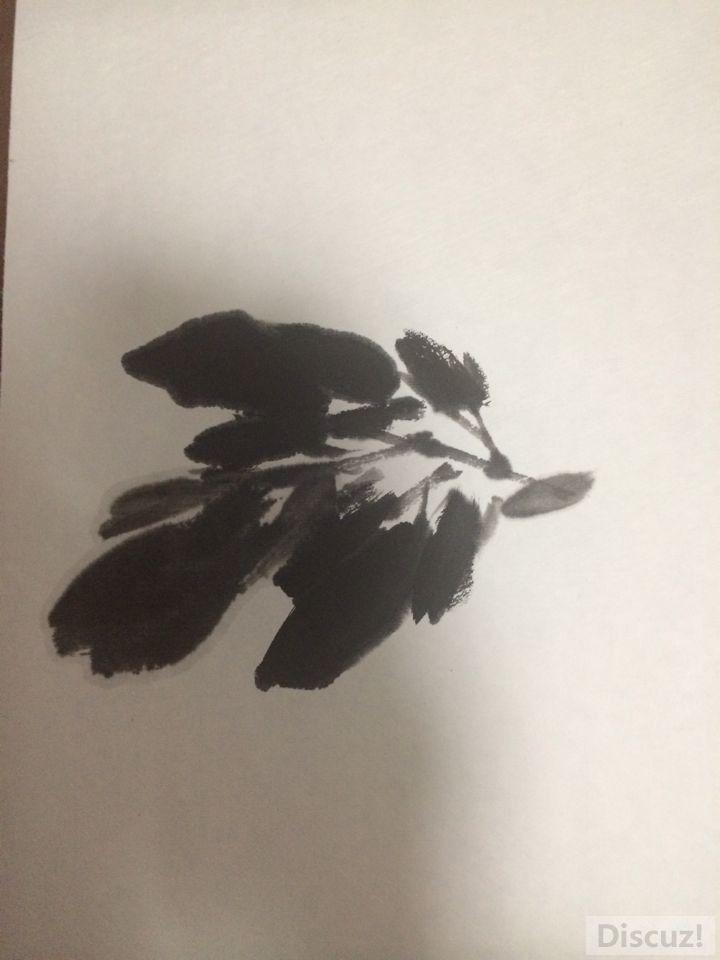 国画教程:牡丹叶子画法步骤4