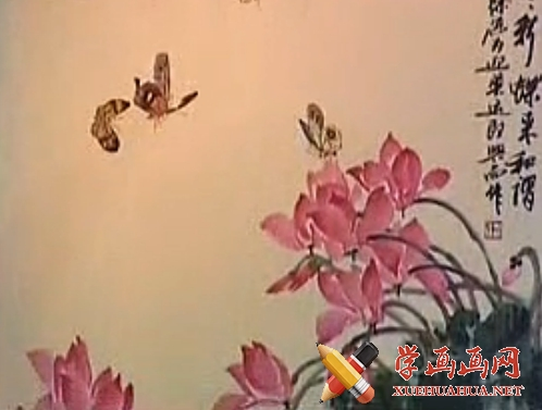 跟徐湛学中国画全集58_仙客来花和蝴蝶的画法(1)