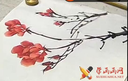 跟徐湛学中国画全集60_月季花的画法(1)