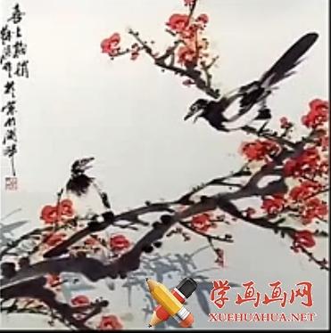 国画梅花教程_徐湛国画教程62_水墨梅花的画法(1)