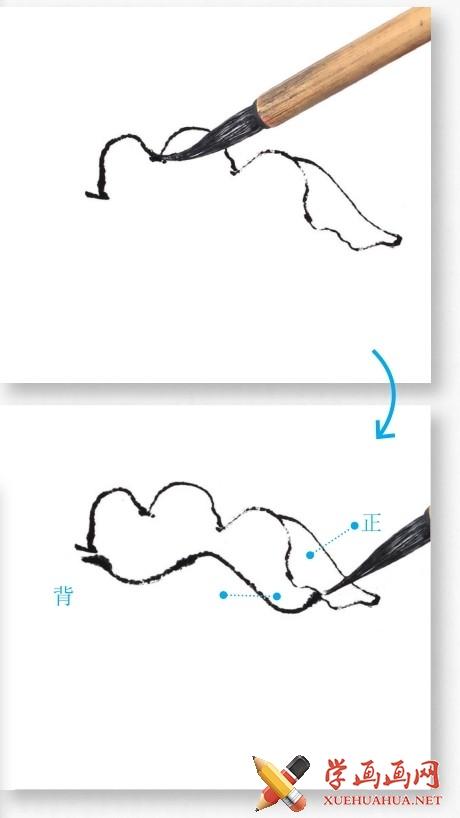 国画牡丹花头的画法步骤教程(勾染法)(2)