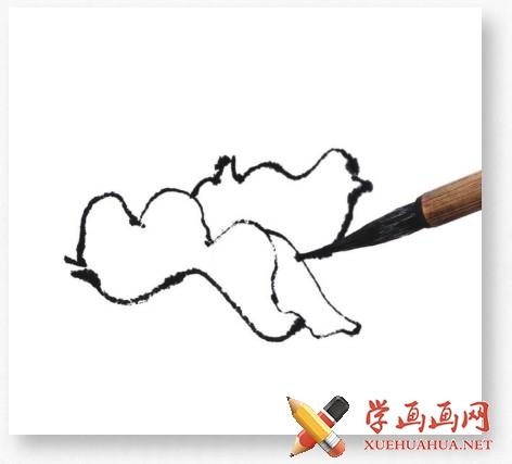 国画牡丹花头的画法步骤教程(勾染法)(3)