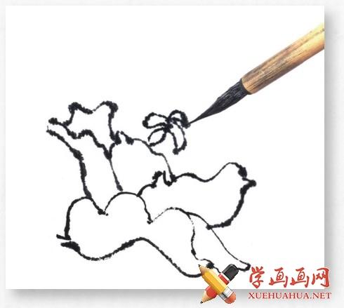国画牡丹花头的画法步骤教程(勾染法)(5)
