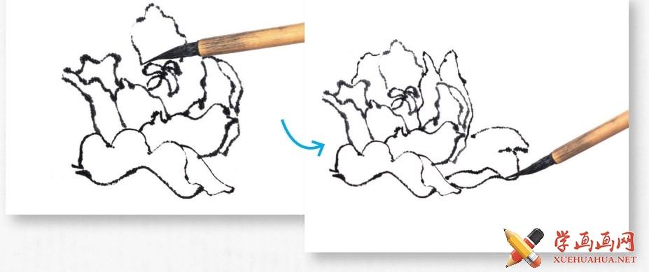 国画牡丹花头的画法步骤教程(勾染法)(6)