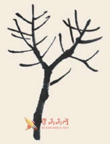 儿童学画画教程_国画杨树的简单画法(2)