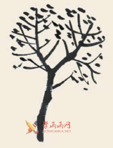 儿童学画画教程_国画杨树的简单画法(3)