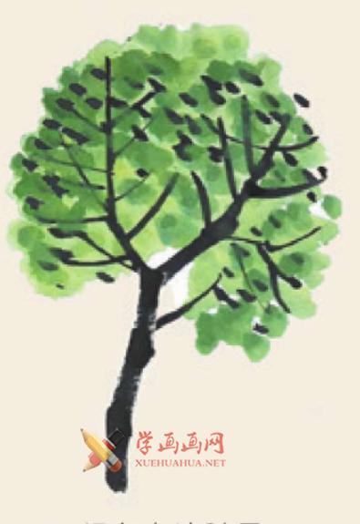 儿童学画画教程_国画杨树的简单画法(4)