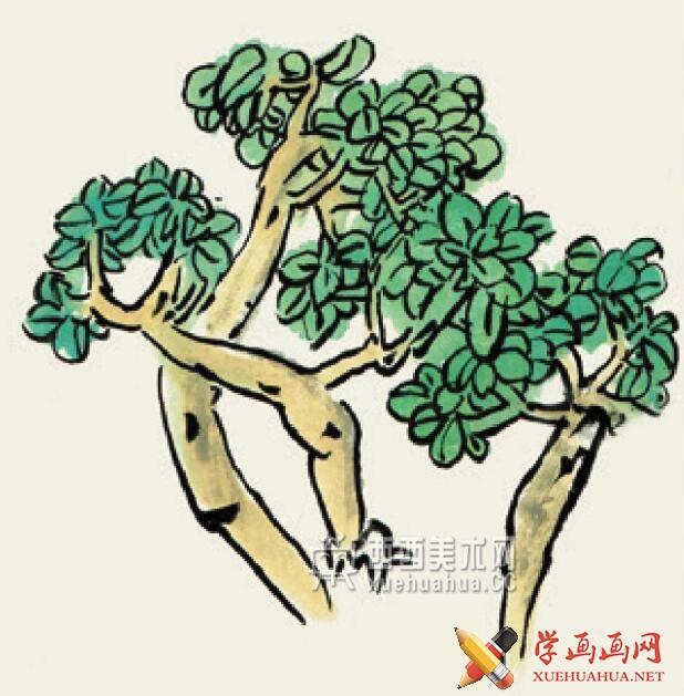 儿童学国画入门_杂树的画法教程(5)