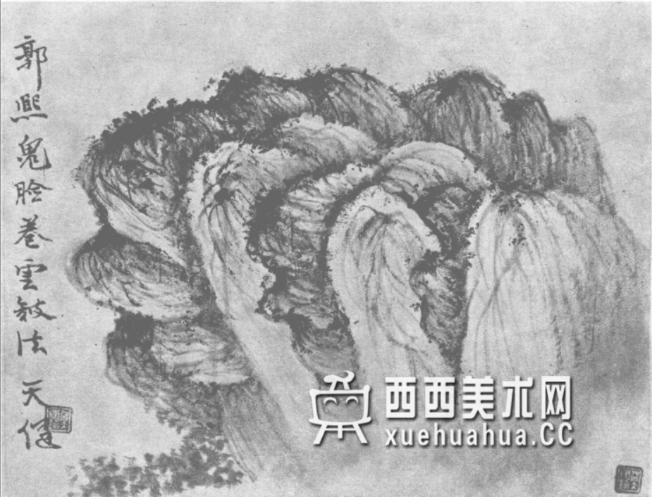 国画山石皴法详解(多图预警)(35)