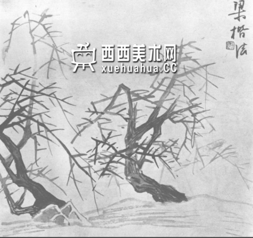怎么画树?中国画树的画法资料教程(14)