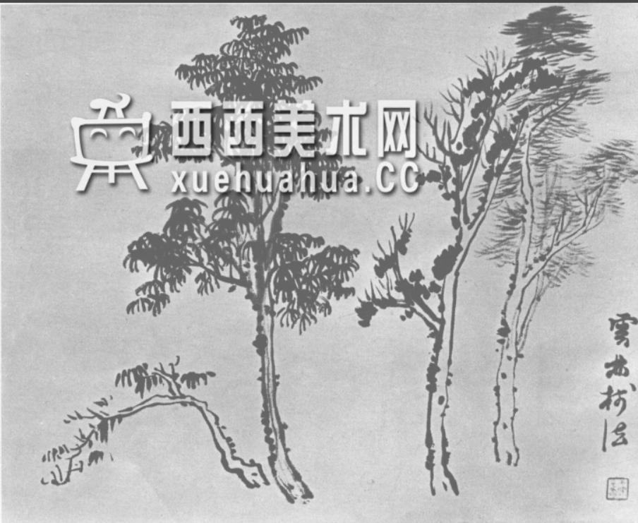 怎么画树?中国画树的画法资料教程(20)