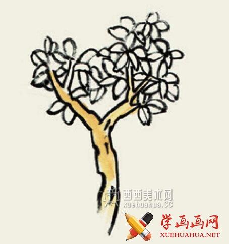 儿童学国画入门_杂树的画法教程(2)