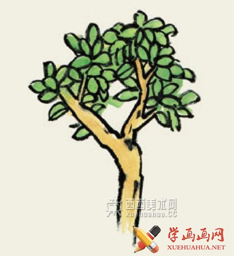 儿童学国画入门_杂树的画法教程(4)