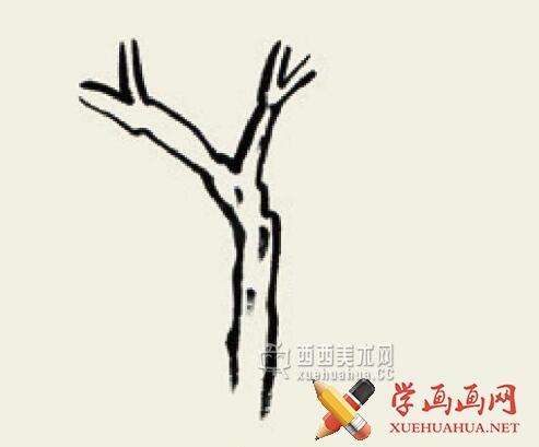 儿童学国画入门_杂树的画法教程(1)