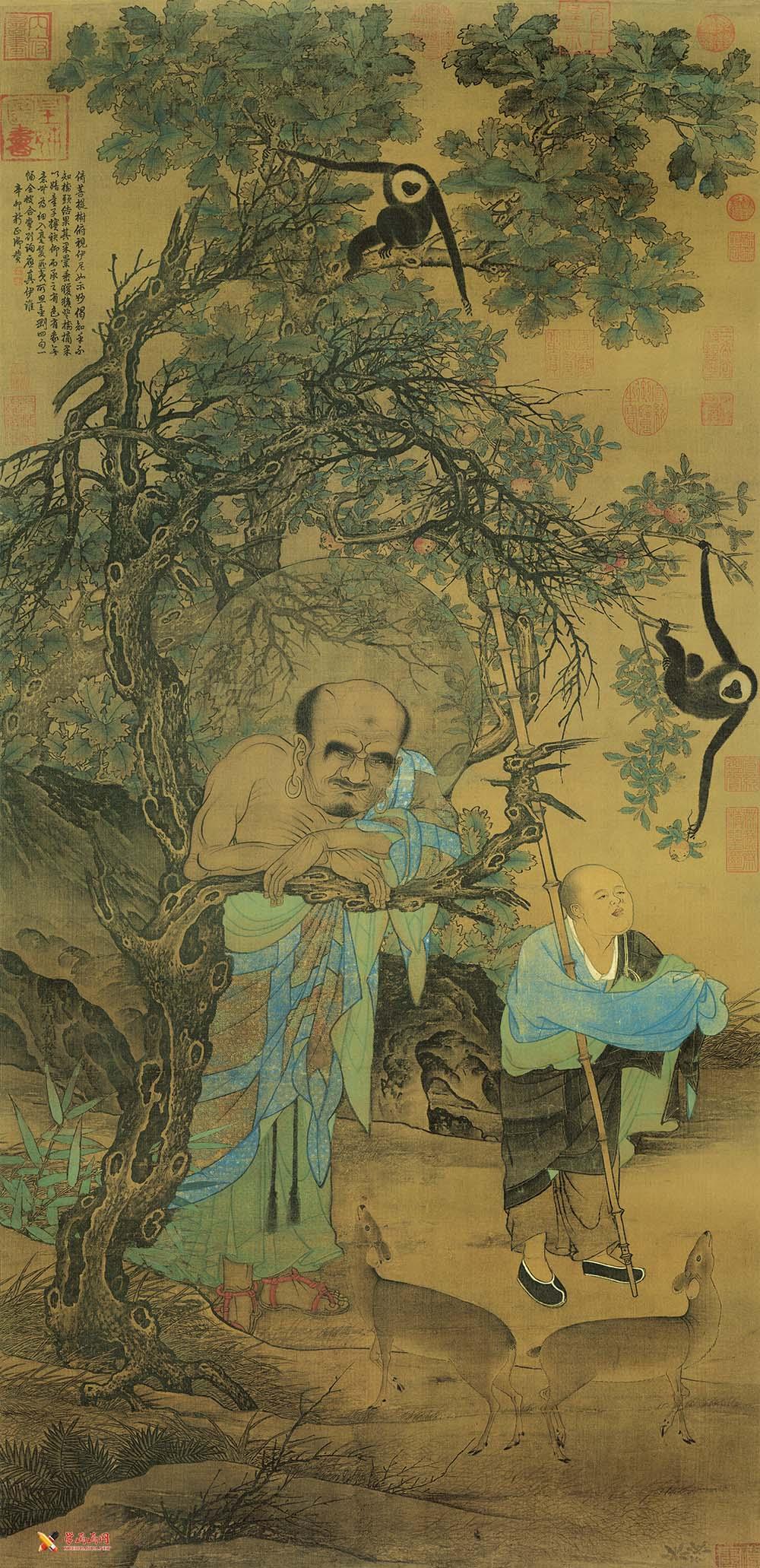 刘松年《罗汉图》高清国画图片欣赏(1)