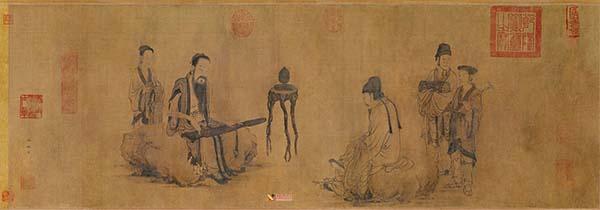 美术欣赏:元画家王振朋《伯牙鼓琴图卷》赏析(1)