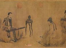 美术欣赏:元画家王振朋《伯牙鼓琴图卷》赏析