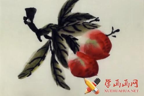 国画桃子的画法