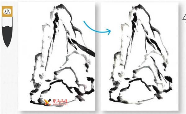 山水画基础技法:山石的画法及皴法详解(24)