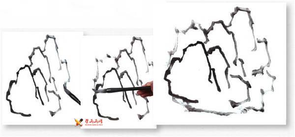山水画基础技法:山石的画法及皴法详解(46)