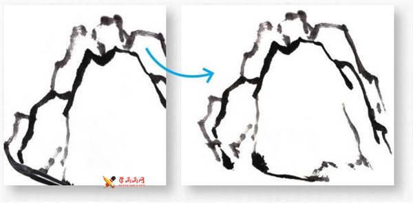 山水画基础技法:山石的画法及皴法详解(58)