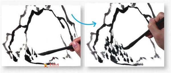 山水画基础技法:山石的画法及皴法详解(59)