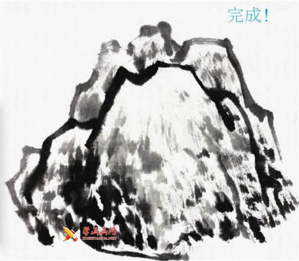山水画基础技法:山石的画法及皴法详解(61)