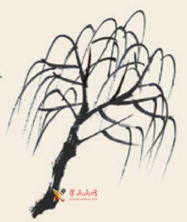 儿童学国画_柳树的画法教程(3)