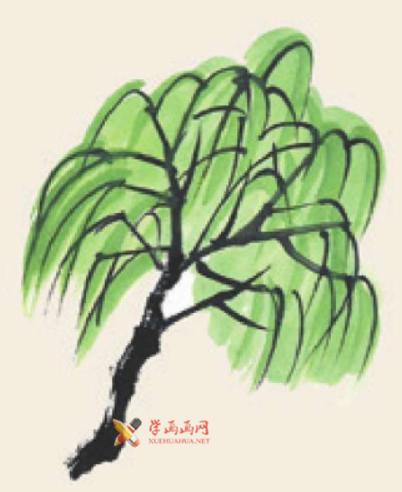 儿童学国画_柳树的画法教程(4)