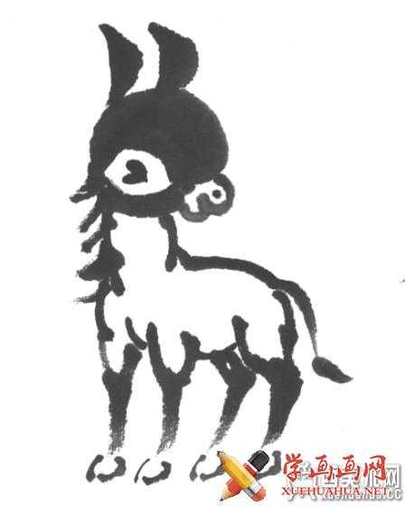 儿童国画入门:水墨画小毛驴的画法(4)