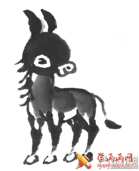 儿童国画入门:水墨画小毛驴的画法(5)