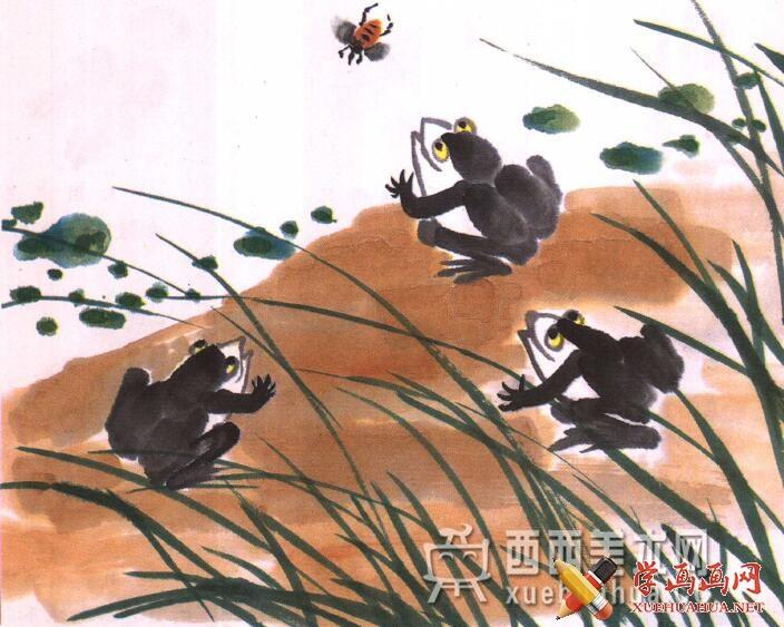 儿童水墨画青蛙的画法教程(7)