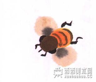 国画蜜蜂的儿童画画法教程(6)