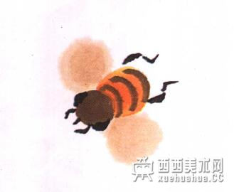 国画蜜蜂的儿童画画法教程(5)